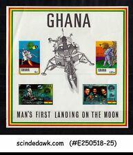 GHANA - 1971 MOON LANDING SHEET OVERPRINTED PHILYMPIA LONDON 1970 - IMPERF MNH
