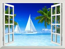 "Wall Mural -Tropical Scenery of Sailboats on Beach and Palm Tree- 36""x48"""