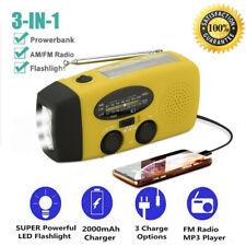 Emergency Solar Wind Up Hand Crank 3 LED Flashlight AM/FM Weather Radio Charger