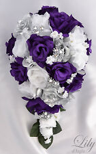 17 Piece Package Silk Flower Wedding Bridal CASCADE Bouquets PURPLE SILVER WHITE