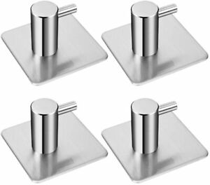 4pcs Stainless Steel Adhesive Door Hooks Strong Sticky Stick on Wall Hook Hanger