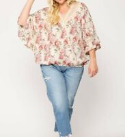 New Gigio By Umgee 2X Ivory Pink Floral Lace Cottagecore Peasant Plus Size