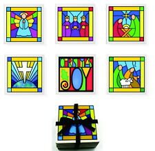 Beautiful Christmas Stained Glass Look Stone Coaster Set of 6