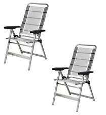 (X2) PAIR Dukdalf Dynamic Folding Caravan Chair - Grey Stripe - 2018 Model -