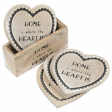 Set of 4 Heart Shaped Wooden Drinks Coasters With Holder Coffee Table Desk Home