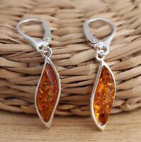 Cognac Baltic Amber 925 Sterling Silver Dangle Drop Earrings  Jewellery