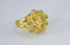 OttomanGems semi precious gem stone ring gold Turquoise Ethnic Turkish handmade