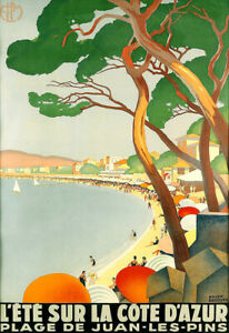 Travel  L'Ete Sur La Cote D'Azure  Beach Vacation Holiday Art Ad  Poster Print
