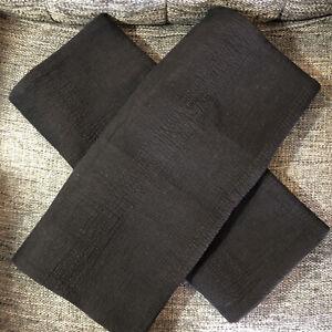 Restoration Hardware Banded Washed Linen King Shams, Black