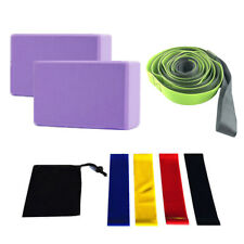 Yoga Blocks Resistance Bands and Strap Set-8-in-1 Yoga Set for Yoga, Pilates