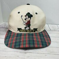 Golf~Mickey Mouse Cap Hat Adjustable Adult Vintage Retro Light Plaid Bill Unlimi