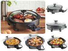 Multipurpose Cooking Pot Electric Cooker Frying Pan Non-Stick with Glass Lid New