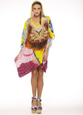 new CAMILLA FRANKS SILK SWAROVSKI BURNING MAN HOODED KAFTAN SHIRT one sz