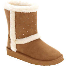 Faded Glory Girls Embellished Chestnut Faux Suede & Shearling Boot Size 6