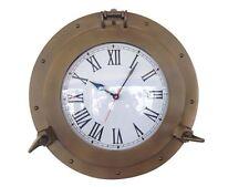 "Antique Brass Decorative Ship Porthole Clock 15""- Nautical Clock- Brass Clocks"