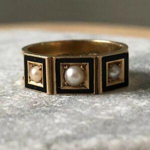 Antique Victorian Enamel Pearl 15 Karat Gold Mourning Band Ring