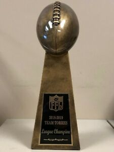 """LOMBARDI STYLE ANTIQUE GOLD FANTASY FOOTBALL TROPHY 15""""  FREE ENGRAVING"""