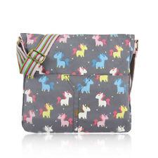 Cute Grey Unicorn Canvas Cross Body School Messenger Satchel Fashion Bag UK