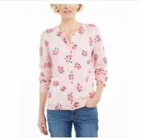 Karen Scott StyleCo Peach Pink Front Open button Long sleeve Floral Print Colors