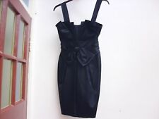 WAREHOUSE BLACK SATIN COCKTAIL DRESS EVENING PARTY 10 36 NEW NWT LINED BOW SHORT