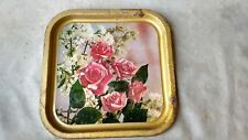 Vintage Metal Serving Tray Platter Rose