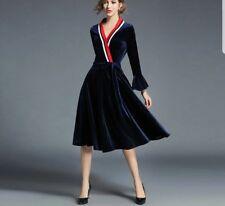 velvet 50's Vintage Rockabilly Swing Evening designer cocktail Dress 14 16