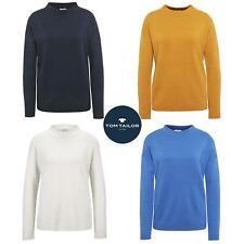 Tom Tailor Milano Knit Rib Stripe Womens Sweater Wide High Neck Jumper