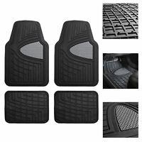 Car Floor Mats for Auto Car SUV 4pc Set All Weather Semi Custom Fit Black Gray
