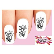 Waterslide Nail Decals Set of 20 - Anchor with Lily Flowers