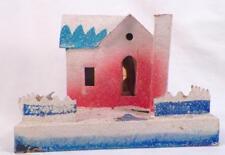 Vintage Christmas House Train Yard Putz Display Pink Blue Roof Cardboard #105