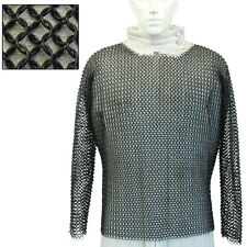 Knights Medieval Hauberk Full Sleeve Blackened Cha