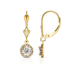 1.25CTW Round Halo White Sapphire Drop Dangle Leverback Earrings 14K Yellow Gold