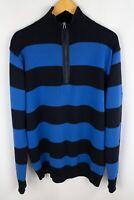 Gant Men Jumper Casual Striped Blue Cotton Zip Neck size XL