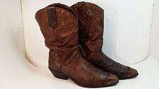 Women's ZODIAC Size 9 M Slouch Distressed Brown Leather Cowboy Western Boots