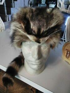 Real Raccoon Fur Hat Men's XL Coonskin Cap Rendezvous Mountain Man Muzzleloader