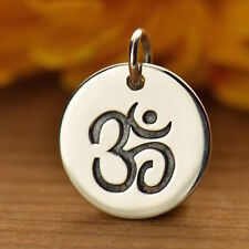 Silver Om Ohm Aum Disc Pendant Necklace Sterling Silver Charm Yoga Jewelry 725