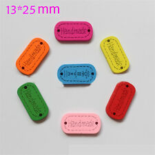 60pcs Colorful Wodden Bottons 2 Holes handmade Printing Sewing Craft Daily Goods