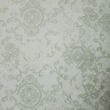 Embossed Wallpaper silver green metallic Greek key textured Victorian Damask 3D