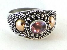 1970s Vintage Purple Amethyst Copper Sterling Silver Artisan Statement Ring 9.5