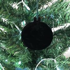 NOIR BRILLANT boule en forme de décorations ARBRE NOËL, & vert ruban, Paquet 10