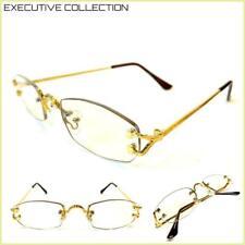 Classy Elegant Sophisticated Luxury Clear Lens EYE GLASSES Rimless Gold Frame