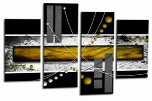 Le Reve Abstract Canvas Large Picture Wall Art Yellow Grey White Split Panel