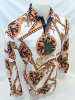 Mens PREMIERE Long Sleeve Button Down Dress Shirt BLACK GOLD TIGER ABSTRACT 341