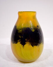 Art Glass Vase, Cased Glass in Yellow, Orange and Blue tones