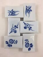 Vintage Porcelain Chopstick Holders Blue & White Spoon Rests Japan Set of 6