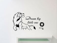 Dream Big little One Disney Quote Lion King Wall Decal Vinyl Sticker Decor 112ct