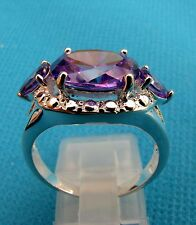 Silver Overlay With Natural Amethyst Ring Size S 1/2 US 9.25 (rg0128)