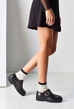 Vagabond Madelyn Black Leather Moc Toe Platform Buckle Strap Creeper Size 39 New