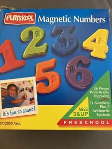 MAGNETIC NUMBERS WITH BRAILLE ENGRAVING 2003 Playskool 31 + 5 NOS Sealed!