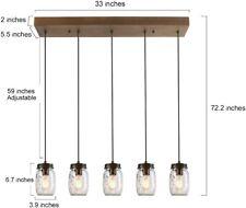 LNC Zook Farmhouse 5-Light Bronze Mason Jar Linear Chandelier A02983
